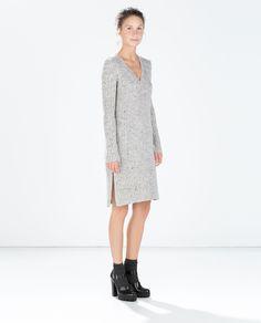 Ribbed v-neck dress from Zara - so cozy looking