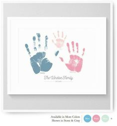 Handprint Art Baby Handprint Family Handprints by nurseryartprints Family Crafts, Baby Crafts, Diy And Crafts, Crafts For Kids, Newborn Crafts, Baby Footprint Crafts, Family Art Projects, Family Hand Prints, Family Print