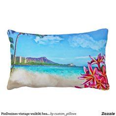PixDezines vintage waikiki beach/diamond head Lumbar Pillow