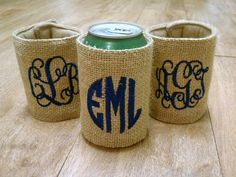 Monogrammed Burlap Koozie yesss @Kathryn Whiteside Whiteside Wallace @Sarah Chintomby Chintomby Doughty
