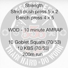 "The OG 24/48 WOD  Week #1 WOD #2  Starting with strict work on the shoulders. Typo says ""strict puah press""....too lazy to fix it to just say strict shoulder press. Tomorrow will be a rest day so I'll doing a #mobilitywod."