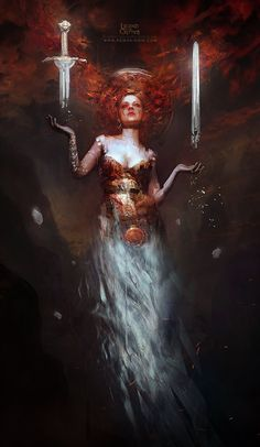 Artist: Bastien Lecouffe Deharme aka Bastien - Title: The Magician of the mountain of Death - Card: Fiora of Cursed Blades (Bestowing)