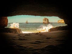 Photo taken inside a cave in Caneiros Beach, Algarve, Portugal