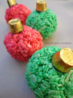 Christmas Ornaments made out of Rice Krispie treats and Rollos!