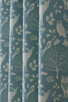Woodland Duck Egg Made to Measure Curtains featuring foxes, deer, squirrels and . Woodland Duck Eg
