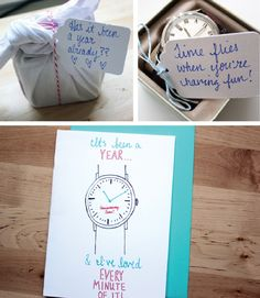 time themed 1 year anniversary gift idea... Ah, perfect!! Can't believe it'll be a year in 2 weeks!!