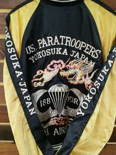 SUKAJAN JAPANESE 90s EMBROIDERY SATIN PARATROOPERS JACKET TOYO BOMBER SOUVENIRS