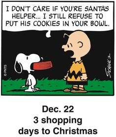 """I don't care if you're Santa's helper...I still refuse to put his cookies in your bowl.""  #peanuts"