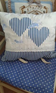 Hand made pillow with hearts