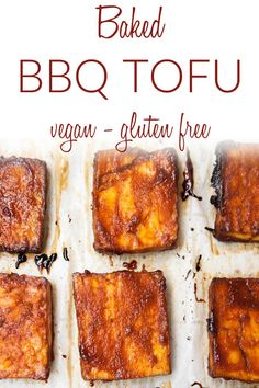 Baked BBQ Tofu (vegan, gluten free) - Why buy baked tofu when you can make your own! This baked tofu with BBQ sauce is sweet and spicy. Since it is made with a 4 Ingredient Sriracha BBQ Sauce, it comes together in minutes. It can be eaten hot or cold, so it is perfect for traveling. #bakedtofu #bbqtofu