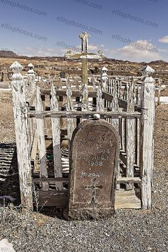 Old cemetery in former gold mining boom town turned ghost town-- Goldfield, Nevada, USA.