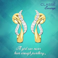 A girl can never have enough jewellery by classejewels Gold Diamond Earrings, Diamond Jewellery, Gold Jewelry, Girls Earrings, Fashion Jewelry, Jewels, Valentines, Shoes, Collection