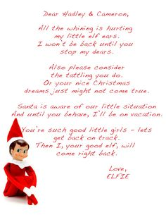 Perfect Elf On Shelf Letter Template   Bing Images