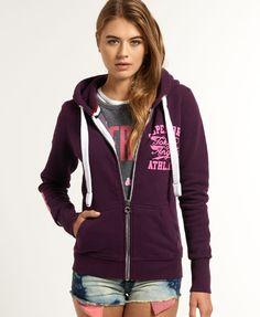 Womens - Trackster Zip Hoodie in Aubergine | Superdry Most Berryish Purple ever!