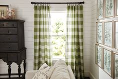 A bold-scale buffalo check is timeless and fresh. (Country Curtains Linen Check Rod Pocket Curtains. Available in Green, Khaki and Navy Blue.)