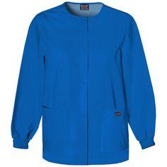 Cherokee Workwear Women's Jewel Neck Warmup Solid Scrub Jacket