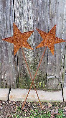 "Pair of 28"" Tall Rustic Wrought Iron Fairy Godmother Wands Garden Decor"