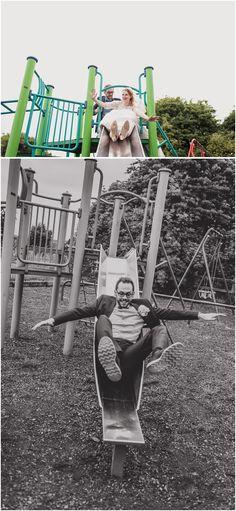 Bride and Groom couple shots in a playground - South Yorkshire Wedding - Northorpe Hall - Miss Bush Bridal Dress - Paul Joseph Photography - www.pauljosephphotography.co.uk
