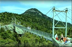 Mile High Swinging Bridge at Grandfather Mountain, NC. And yes, it really does swing if the wind is blowing, or you are on it with a bunch of high school kids who think it's funny to try to make it swing. Boone North Carolina, North Carolina Mountains, South Carolina, Vacation Places, Vacation Spots, Family Vacations, Cool Places To Visit, Places To Go, Mountain City