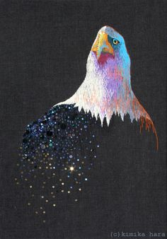 beautiful embroidery by kimika hara Embroidered Bird, Japanese Embroidery, Embroidery Hoop Art, Embroidery Stitches, Embroidery Patterns, Beagle, Yarn Painting, Contemporary Embroidery, Textiles