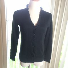 Button Ruffle Cardigan Black cardigan with ruffles running along the edge of the neckline. Long sleeves!  NWT. (PB2) Kenneth Cole Reaction Sweaters Cardigans