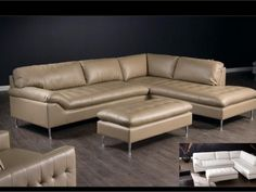Love the retro-contemporary look of this leather sectional sofa!  http://farbelowretail.net/shop/avalon-leather-blend-sectional-sofa/