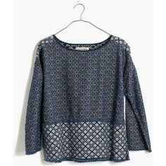 MADEWELL Rivet & Thread Indigo Jacquard Top (950 ARS) ❤ liked on Polyvore featuring tops, jaquard rinse, cut-off, madewell shirt, jacquard shirt, cut off shirts and shirts & tops
