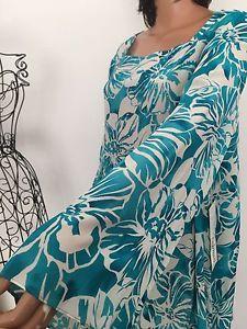 Diane Gilman DG2 Silk Women Plus 2X Tunic Beaded Floral Blue Hip Chic  | eBay