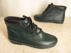 Lands End Duck Boots Womens 7 M Dark Green Rubber Rain Fleece Lined Ankle Height #LandsEnd #Rainboots #Casual