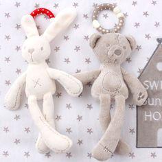 Dễ thương Bé Nôi Xe Đẩy Đồ Chơi Con Thỏ Bunny Gấu Mềm Plush trẻ sơ sinh Doll Mobile Xe Đẩy Giường kid Animal Treo Vòng Vòng Màu Sắc Ngẫu Nhiên