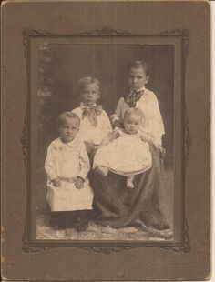 The Allen Children, Cabinet Card Photo, Vintage Photograph, Sepia Colored Photo, Children, Baby, Brothers and Sisters, Period Clothing by BettywasaBombshell on Etsy