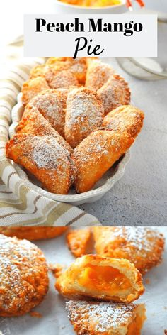 Peach Mango Pies – Woman Scribbles Buttery pie crust plus sweet and bright fruit filling, these peach mango pies are delicious pocket-sized desserts that you can eat anytime. Mango Dessert Recipes, Köstliche Desserts, Tart Recipes, Sweet Recipes, Baking Recipes, Filipino Desserts, Cuban Recipes, Salad Recipes, Peach Mango Pie