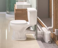 For refinishing the basement! SANIPLUS® alows you to put a toilet sink shower/bath just about anywhere. & Adding a bathroom to your basement is easy with a macerating toilet ...