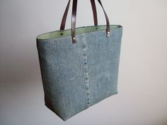 Denim Tote - Small Hand-carry, Upcycled Jeans Denim. $50.00, via Etsy.