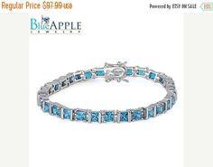 "Tennis Bracelet Solid 925 Sterling Silver Princess Cut Mystic Rainbow Topaz CZ Wedding Engagement Bridesmaid Tennis Bracelet 7.25"" Long"