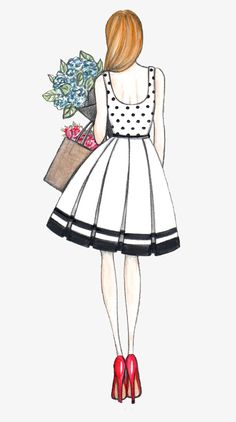 Summer dress and flowers Joanna Baker : Fashion Art Design Creative Fashion Drawing Dresses, Fashion Illustration Dresses, Fashion Illustrations, Fashion Design Drawings, Fashion Sketches, Girly Drawings, Art Drawings, Illustration Mode, Dress Sketches