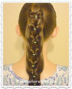 Kaleidoscope loop, pull through ponytail hairstyle tutorial.