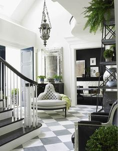 HAD to pin this. i've had this pic for years... GRAY checkerboard. tufted convo bench. lantern. the ceiling... (sigh)