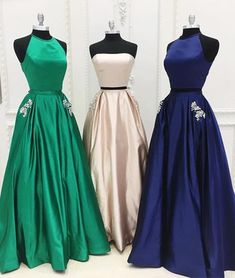 Simple satin two pieces long prom dress satin evening dress, formal dress