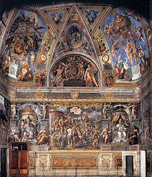 La Sala di Costantino, quarta e ultima Stanza dell'appartamento, venne commissionata a Raffaello da Leone X nel 1517, come ricorda Vasari nelle vite del Sanzio e di Giovan Francesco Penni. Il maestro però, negli ultimi frenetici anni di vita, fece in tempo solo a preparare i cartoni, morendo nel 1520. L'opera fu ultimata da Giulio Romano nel 1524.