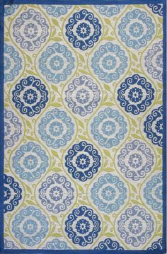 KAS Rugs Riviera 4307 Blue and Green Laurel Hand-Woven 100% UV-Treated Polyester 5 x 7 1/2 Home Decor Rugs Rugs