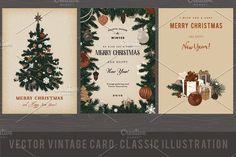 Christmas Card. Retro by olga.korneeva on @creativemarket