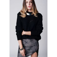 Black chunky knit jersey with cut details