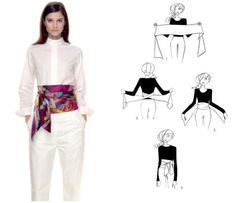 How To Tie A Scarf - Hermès Scarf Knotting Cards - Ceinture Smoking - My Style outfit belt Diy Fashion, Ideias Fashion, Fashion Outfits, Womens Fashion, Fashion Design, Scarf Knots, Scarf Belt, Scarf Top, Diy Scarf