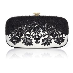 Oscar de la Renta Black & White Embroidered Goa Clutch (2,900 NZD) ❤ liked on Polyvore featuring bags, handbags, clutches, chain strap purse, embroidered handbags, sequin purse, evening handbags and special occasion handbags