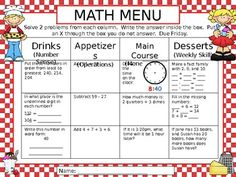 This menu of activities allows students to choose which problems they want to solve for each course.  It can be used for homework, math stations, w...