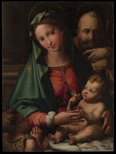 Perino del Vaga (Pietro Buonaccorsi), 1501-1547, Italian, The Holy Family with the Infant Saint John the Baptist, c.1524-26.  Oil on wood: 88.3 x 65.1 cm.  Metropolitan Museum of Art, New York.  High Renaissance, Mannerism.