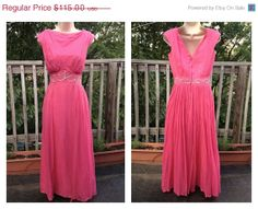 50s pink silk maxi party dress