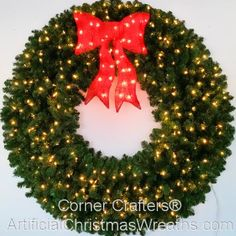 5 Foot inch) L. Christmas Wreath with Pre-lit Red Bow Christmas Wreaths With Lights, Artificial Christmas Wreaths, Christmas Ornaments, T5 Led, Indoor Outdoor, Commercial, Bows, Holiday Decor, Red