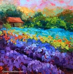 """Daily Paintworks - """"Dreams Come True and Texas Hill Country Melody - Lavender Painting by Nancy Medina"""" - Original Fine Art for Sale - © Nancy Medina Landscape Art, Landscape Paintings, Watercolor Paintings, Flower Paintings, Gouache Painting, Painting Abstract, Acrylic Paintings, Painting Trees, Impressionist Paintings"""